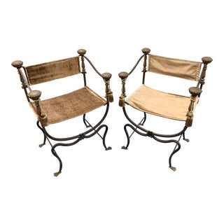 Early 20th Century Vintage Italian Curule Savonarola Campaign Chairs- a Pair For Sale