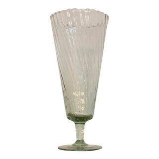 Vintage Antique Spiral Footed Glass Vase For Sale