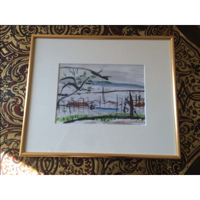Wonderful watercolor and gouache painting. Signed in pencil by the artist and professionally framed in a gilt modern...