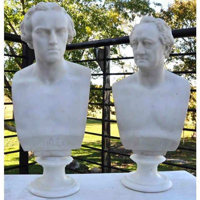 Figurative Pair of Mid-19th Century Marble Busts of Schiller and Goethe For Sale - Image 3 of 6