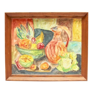 Mid-Century Impressionist Textured Still Life Painting For Sale