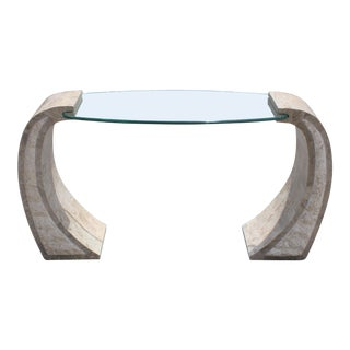 Mid Century Tessellated Stone Veneered Console Table with Center Glass Top Circa 1980s