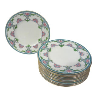 Vintage Minton Enameled Fine China Luncheon Plates, Bailey, Banks & Biddle - Set of 11 For Sale
