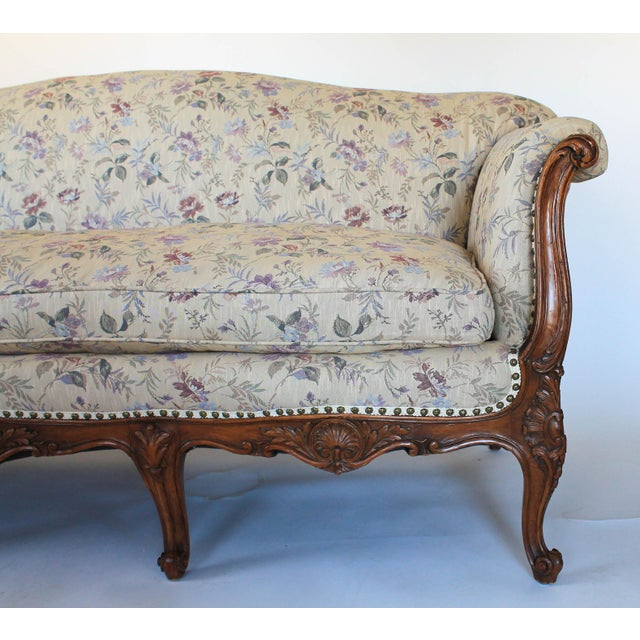 Antique Sofa W/ Carved Wood & Feather Down Cushion For Sale - Image 9 of 13