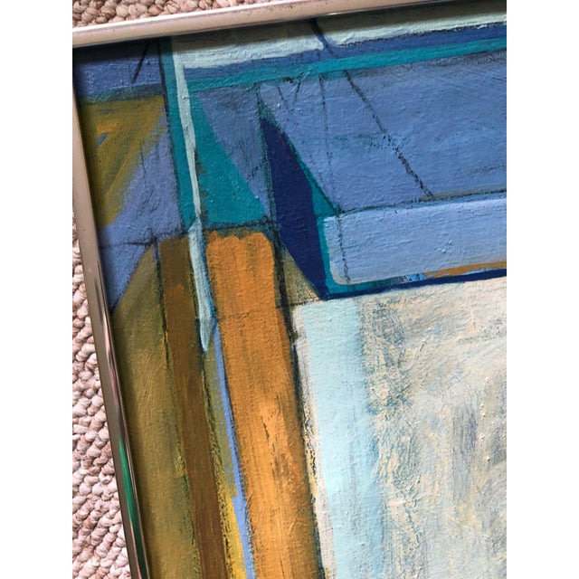 1980s Vintage 80s Geometric Abstract Oil Painting Signed Mariko Nutt For Sale - Image 5 of 9