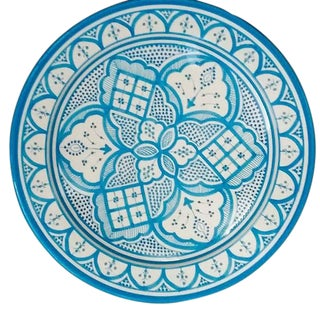 Safi Large Ceramic Serving Platter, Turquoise For Sale