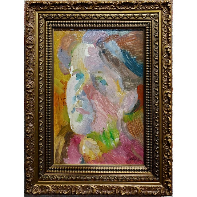 "S. Cohen - Male Face Portrait - Oil painting oil painting on board -Signed frame size 12 x 15"" board size 8 x 12"""