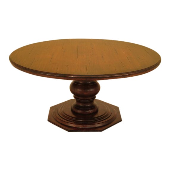 Guy Chaddock Round Distressed Wood Dining Room Table For Sale