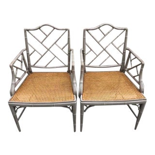 Vintage Bamboo Chinoiserie Hollywood Regency Style Armchairs- a Pair For Sale