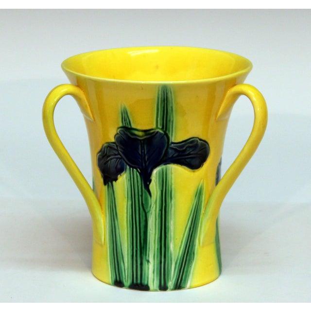 Art Nouveau Antique Awaji Pottery Incised Iris Friendship Cup Vase For Sale - Image 3 of 11