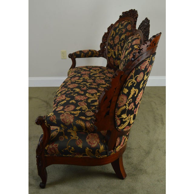 Rococo Revival Fine Carved Rosewood Sofa For Sale - Image 4 of 13