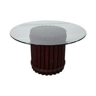 Round Glass Top & Bamboo Base Dining Table For Sale