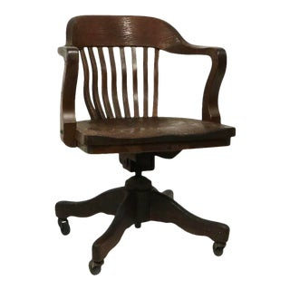 Bank of England Yale Library Swivel Desk Chair Attributed to Gunlocke For Sale
