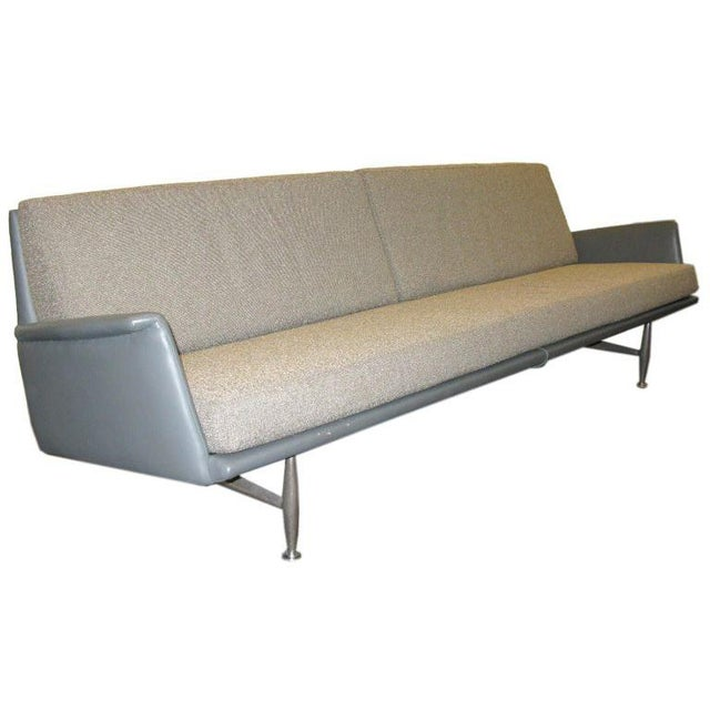 Aluminum Donald Deskey for Charak 1958 Leather and Fabric Sofa For Sale - Image 7 of 7