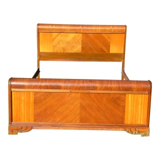 Vintage Art Deco Walnut Full Double Waterfall Bed