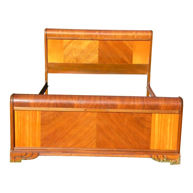 Vintage Art Deco Walnut Full Double Waterfall Bed For Sale