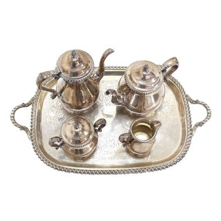 Five Pieces Gorham Silver Plated Coffee and Tea Set For Sale