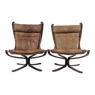 Mid-Century Leather Suspended Arm Chairs - a Pair For Sale