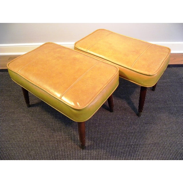 Vintage Mid-Century Gold Ottoman Footrests - Pair - Image 3 of 8