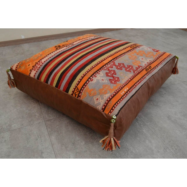 Turkish Hand Woven Floor Cushion Cover - 30″ X 30″ - Image 2 of 11