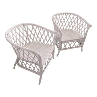 Boho Chic Rattan Chairs With Barrel Backs - a Pair For Sale