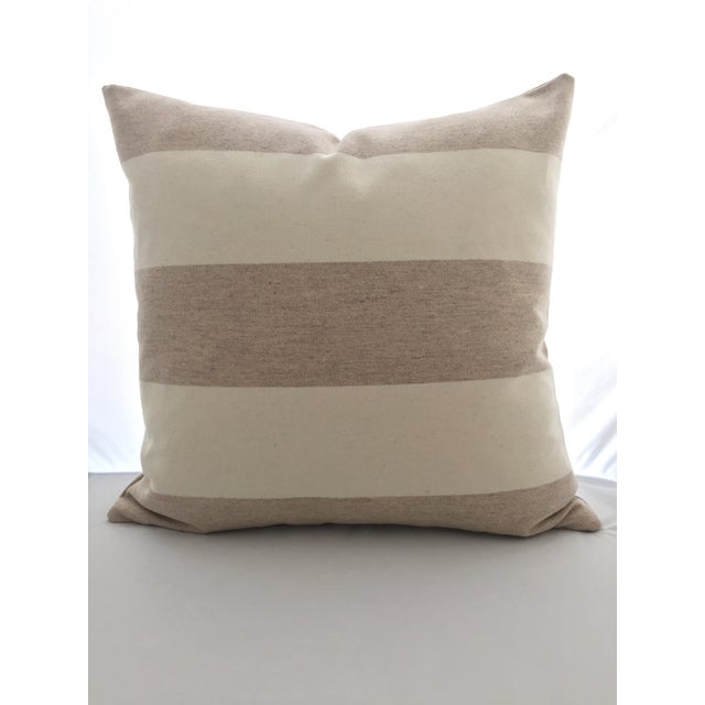 FirmaMenta Italian Eco-Friendly White and Cream Stripes Wool Pillow - Image 2 of 4