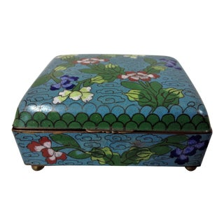 Cloisonne Trinket Box With Hinged Lid For Sale