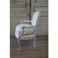 Antique French Country Style Upholstered Linen Open Armchair - Image 5 of 6