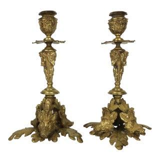 Black Forest Bronze Candlesticks - A Pair