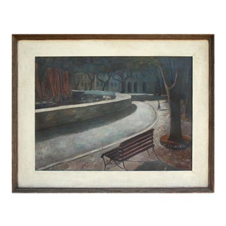 """Mid 20th Century """"After Midnight"""" Realist Park Scene Oil Painting, Framed For Sale"""