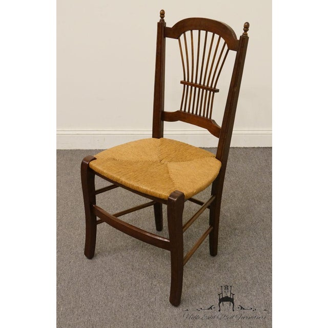 American 20th Century Early American Solid Cherry Wheat Back Dining Side Chair For Sale - Image 3 of 8