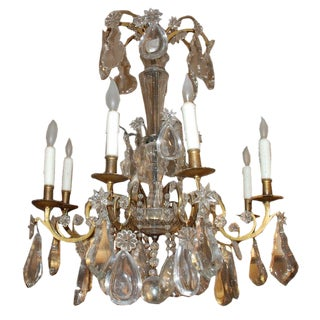 Period French Eight-Light Bronze and Crystal Chandelier For Sale