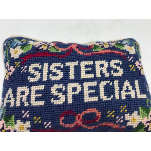 Textile 1970s 'Sisters Are Special' Needlepoint Pillow For Sale - Image 7 of 8