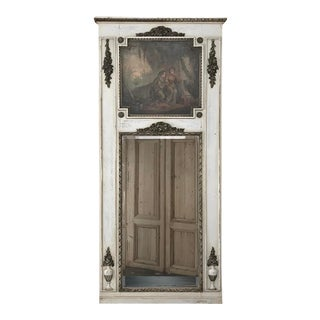 19th Century French Louis XVI Painted Trumeau Mirror For Sale