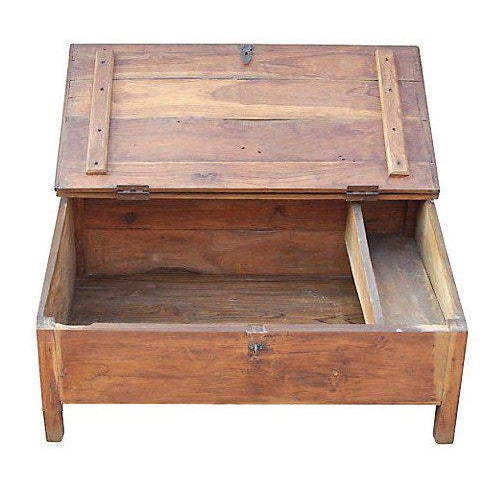 A teak desk from India, originally used by accountants to store money and documents. Designed to be used while sitting on...