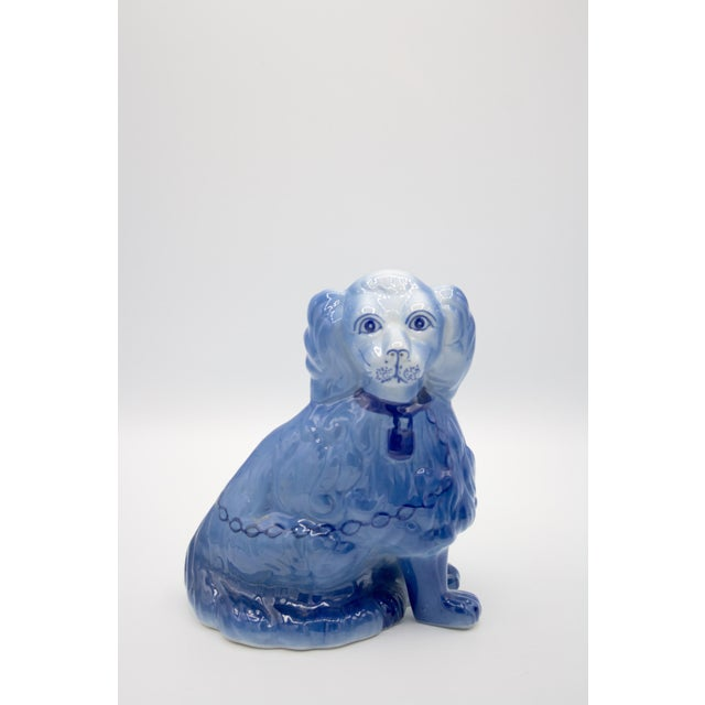 English Traditional Staffordshire Style Blue Spaniel Figurines - a Pair For Sale - Image 3 of 11