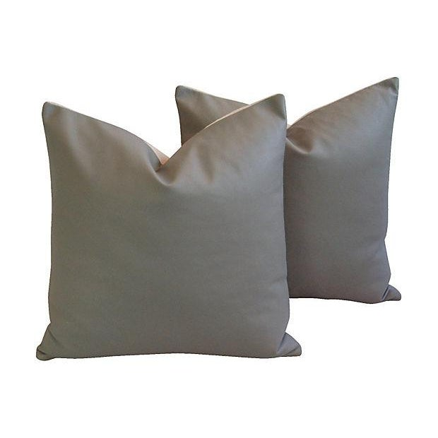 Custom Tailored Italian Gray Leather Feather/Down Pillows - Pair - Image 1 of 7