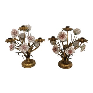 Italian Gold Tole Porcelain Carnation Candle Holders - A Pair