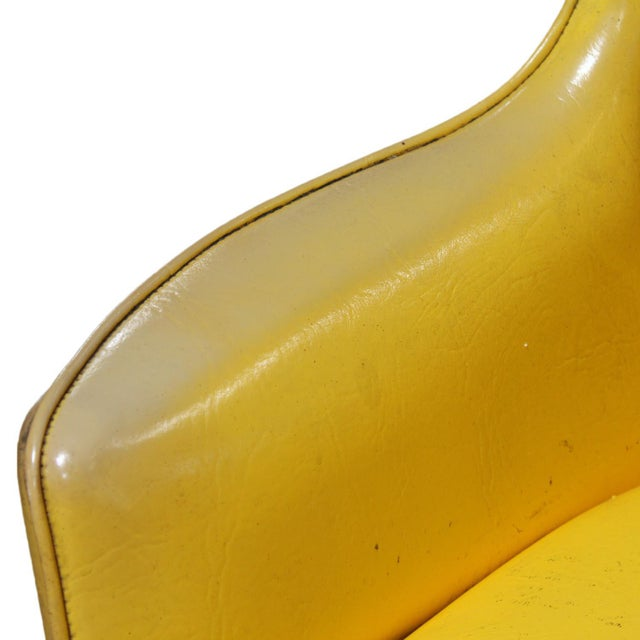 Lemon Yellow Vinyl Accent Chair - Image 7 of 10