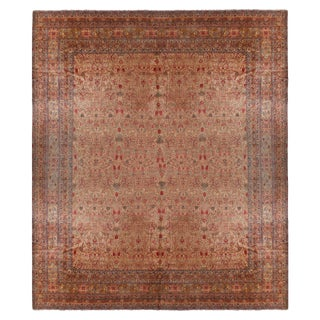 Antique Kerman Beige-Brown and Red Wool Persian Rug For Sale