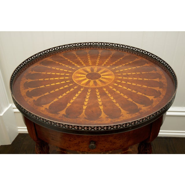 Round End Table With Inlay & Decorative Metal Edge - Image 4 of 5