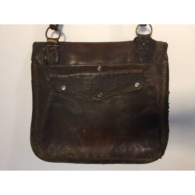 Animal Skin African Hand Tooled Leather Tribal Shoulder Bag For Sale - Image 7 of 8