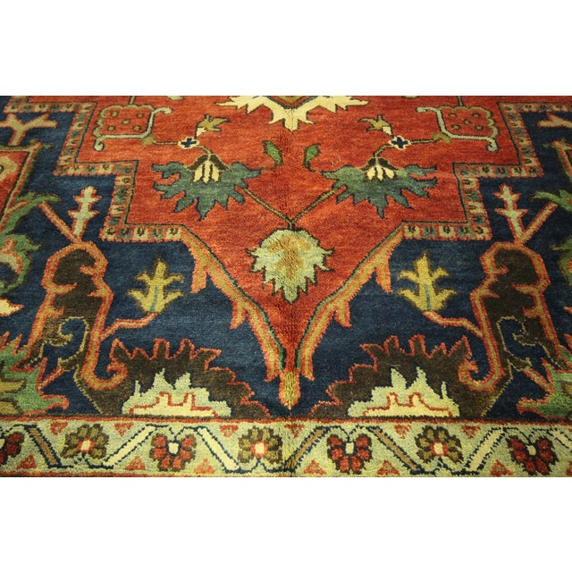 "Red & Ivory Heriz Serapi Knotted Rug - 9'10"" x 14' - Image 8 of 10"