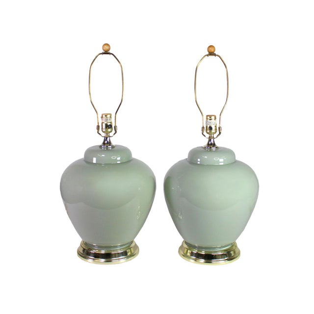 1980's Palm Beach Modernist Pale Mint or Celadon Glazed Ceramic Lamps - a Pair For Sale - Image 4 of 4