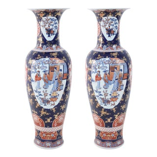 Pair of Chinese Monumental Imari-Style Blue Porcelain Urns For Sale
