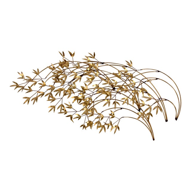 """Signed C. Jere Brass """"Willow Branch"""" Sculpture For Sale"""