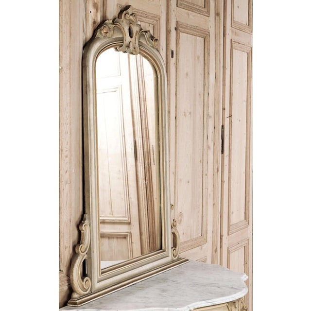 19th Century Italian Hand Painted Console and Mirror With Cararra Marble For Sale - Image 10 of 13