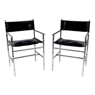 Vintage Mid-Century Faux Bamboo Chrome Chairs - a Pair For Sale