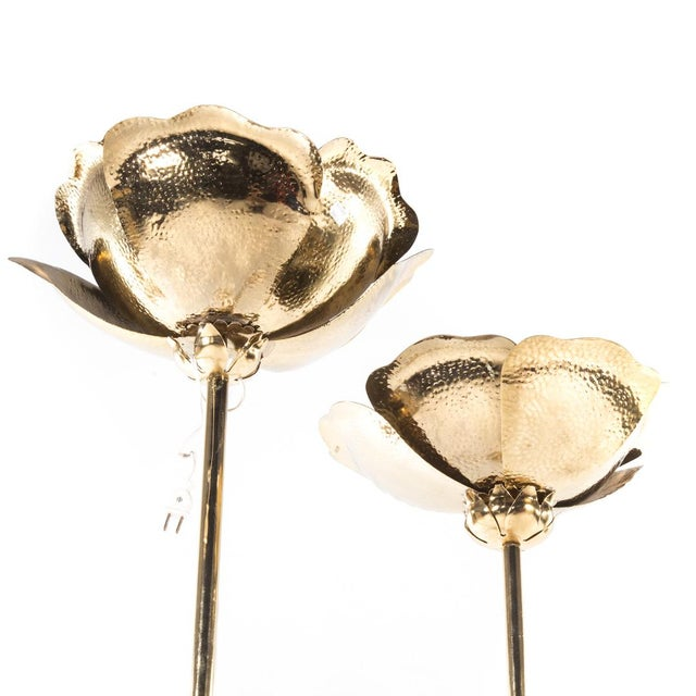 Tommaso Barbi Hammered Brass Flower Petal and Marble Floor Lamp - Image 2 of 4