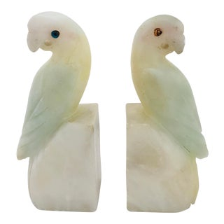 1920s Bird Cockatoo Alabaster Bookends - the Pair For Sale